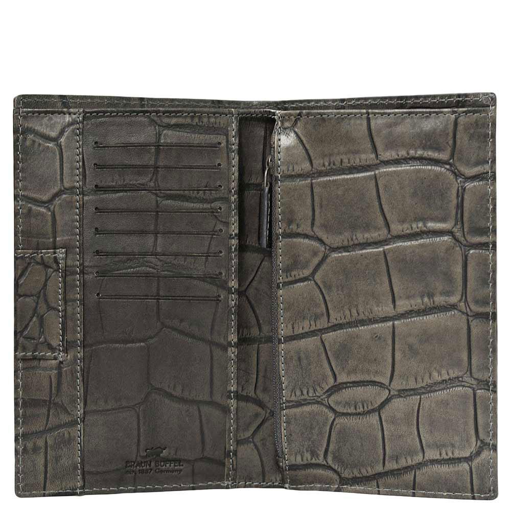 Портмоне Braun Büffel Lisboa серого цвета с внутренним карманом на молнии