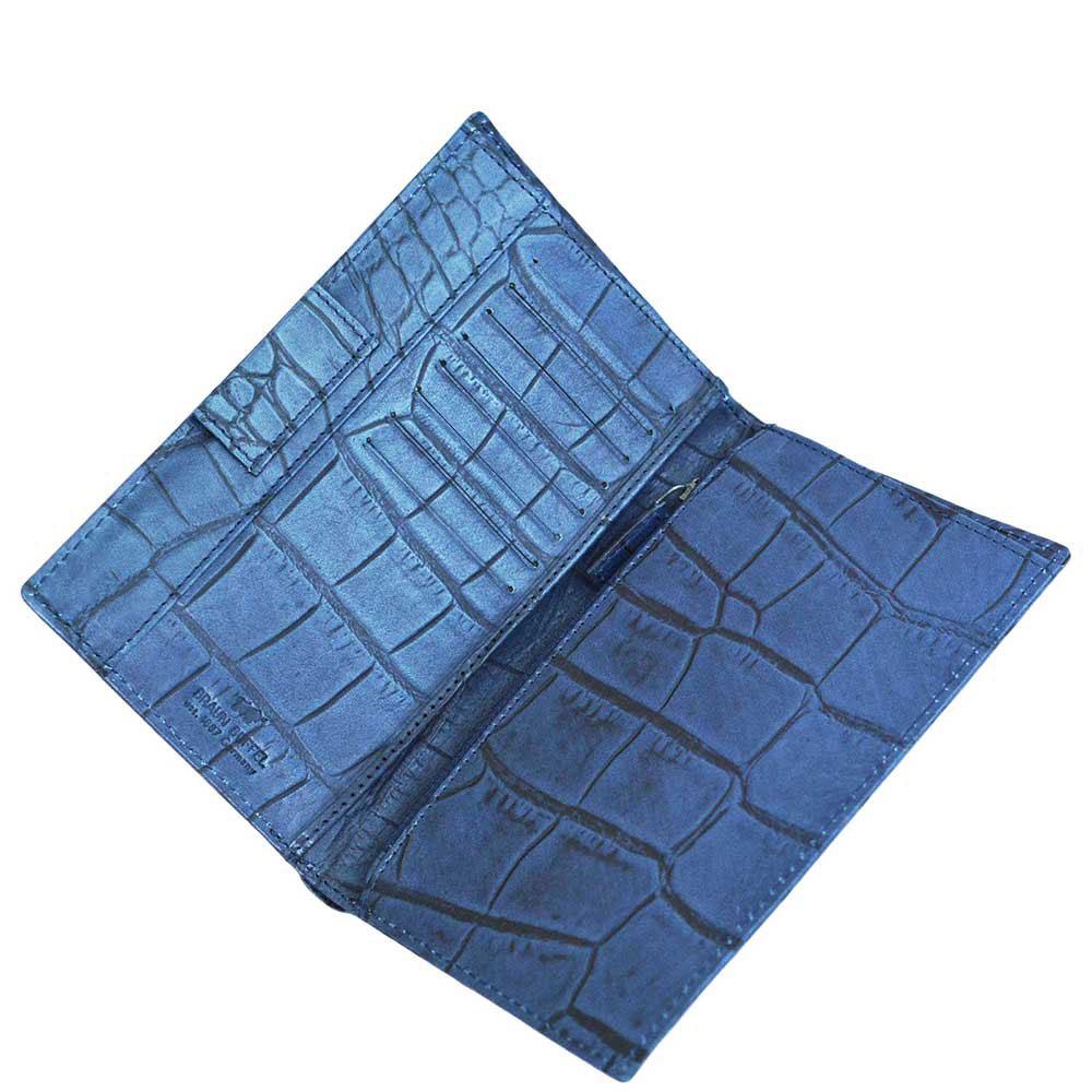 Портмоне Braun Büffel Lisboa синего цвета с внутренним карманом на молнии