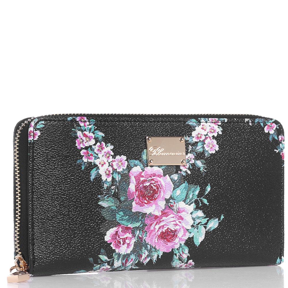 Черный кошелек Blumarine Lara с цветочным принтом