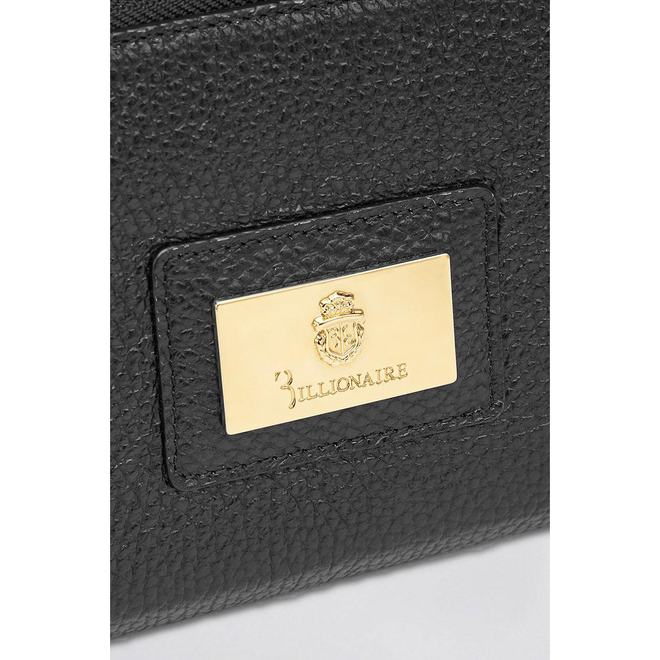 Черный кошелек Billionaire с золотым логотипом