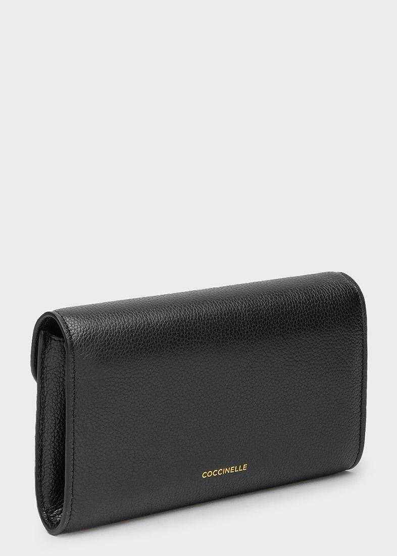 Черный кошелек Coccinelle с золотистым декором