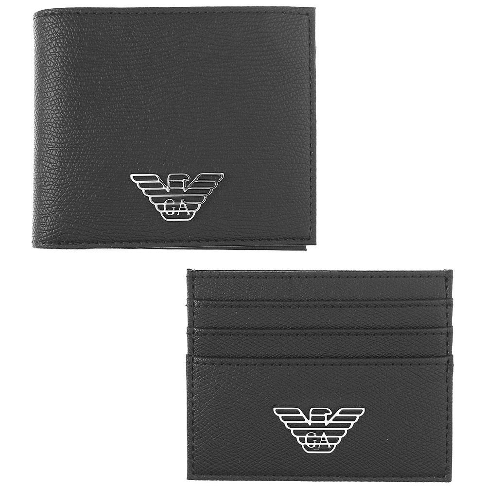 Набор из портмоне и кардхолдера Emporio Armani черного цвета