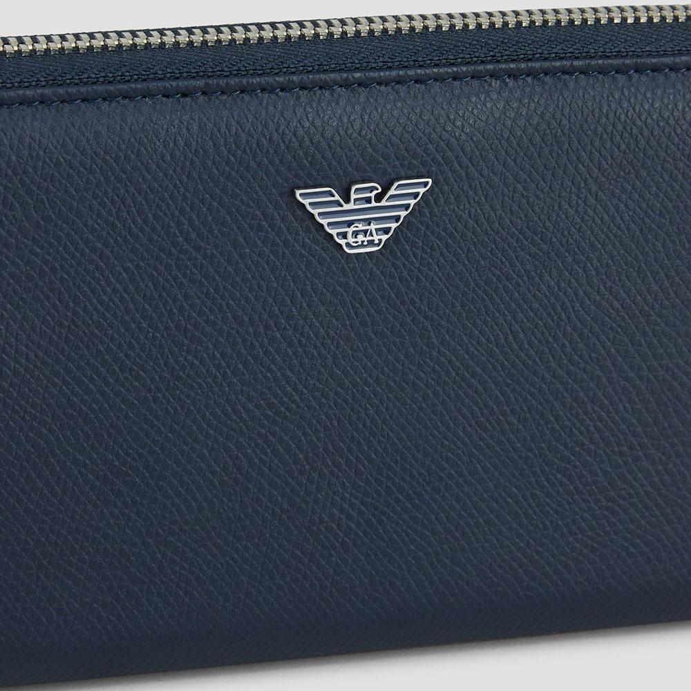 Синий кошелек Emporio Armani из зернистой кожи