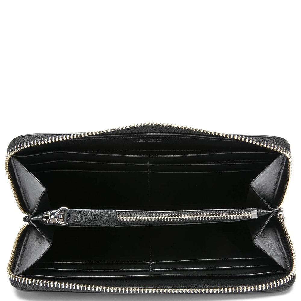 Черный кошелек на молнии Kenzo с белым лого