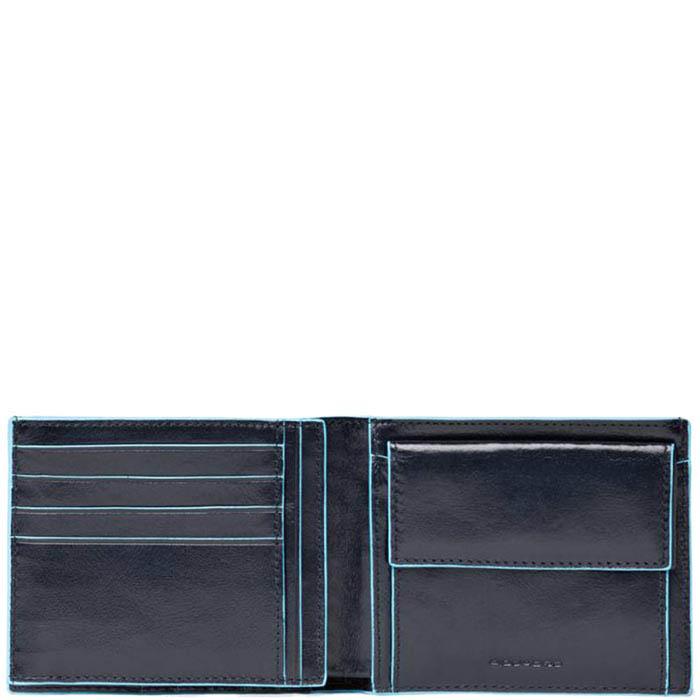 Горизонтальное портмоне Piquadro Blue Square из кожи синего цвета