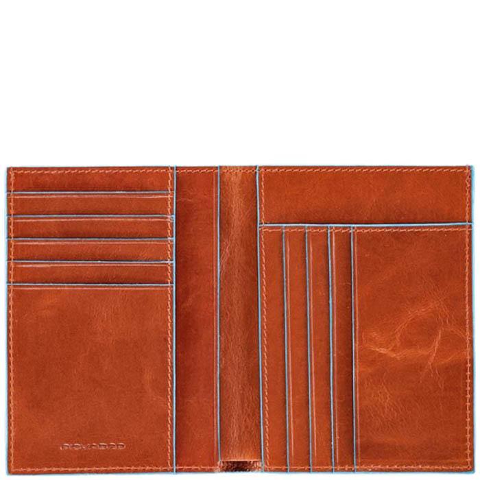 Вертикальное портмоне Piquadro Blue Square из кожи оранжевого цвета