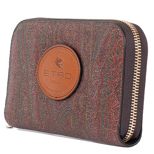 Коричневый кошелек Etro с логотипом и фирменным узором, фото