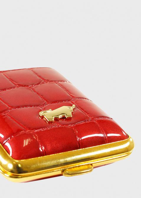 Красная таблетница Braun Bueffel Verona с тиснением кроко, фото