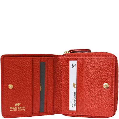 Красное портмоне Braun Bueffel Asti на молнии, фото