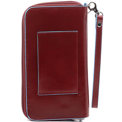Бордовое портмоне Piquadro Blue Square со съемным кистевым ремнем, фото