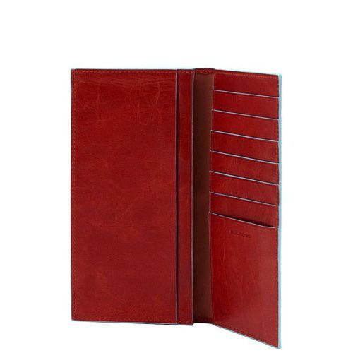 Портмоне Piquadro Blue Square кожаное красное вертикальное с отделениями для карт и документов, фото