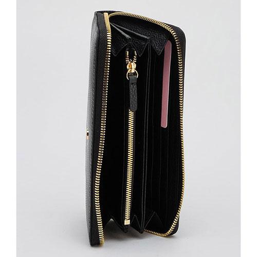 Черный лаковый кошелек Coccinelle с принтом и логотипом, фото