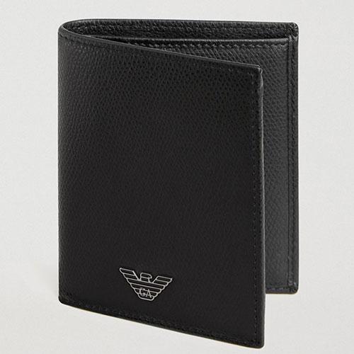 Черное портмоне Emporio Armani с логотипом, фото