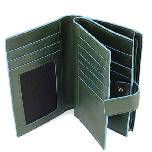 Портмоне Piquadro с отделением для монет на молнии зеленого цвета, фото