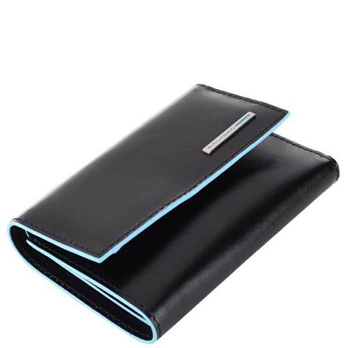Черный портмоне Piquadro Bl Square с отделением для монет на молнии и RFID защитой , фото