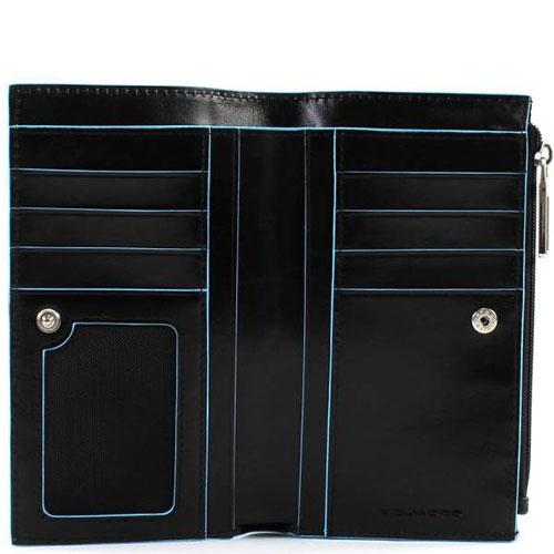 Черный портмоне Piquadro Bl Square с отделением для монет на молнии, фото