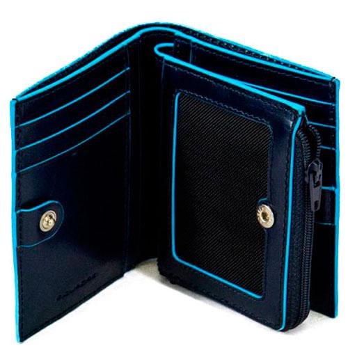 Кредитница Piquadro Bl Square на молнии синего цвета, фото