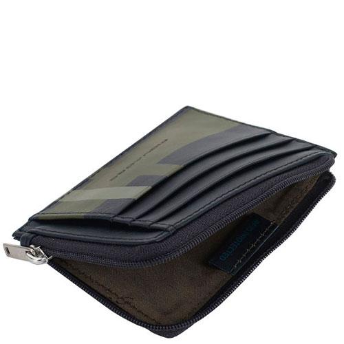 Кредитница Piquadro Tag с отделением для монет на молнии синего цвета, фото
