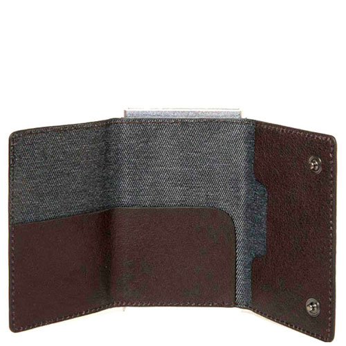 Кредитница-портмоне Piquadro Bk Square с выдвижным механизмом коричневого цвета, фото