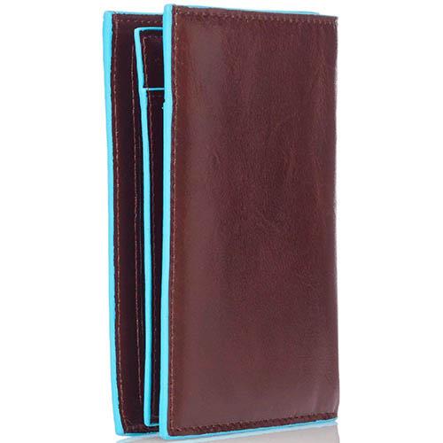 Горизонтальное коричневое портмоне Piquadro Blue Square из натуральной зернистой кожи, фото