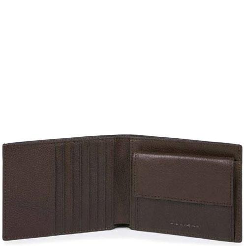 Коричневый портмоне Piquadro Bk Square с отделением для монет, фото