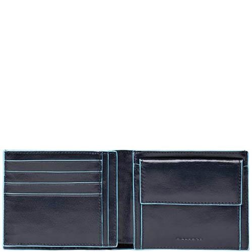 Горизонтальное портмоне Piquadro Blue Square из кожи синего цвета, фото