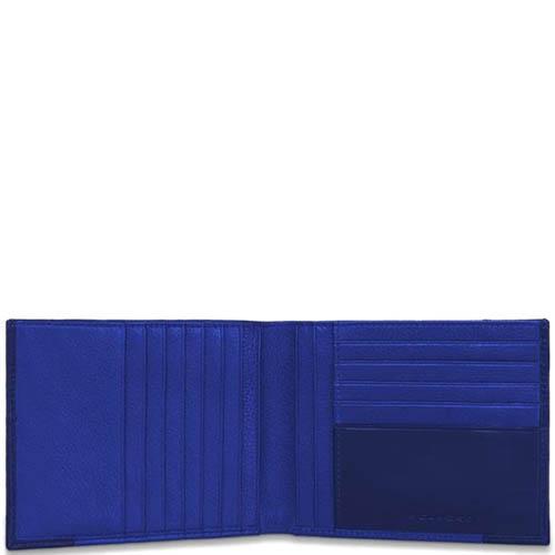 Горизонтальное синее портмоне Piquadro Pulse из зернистой кожи, фото