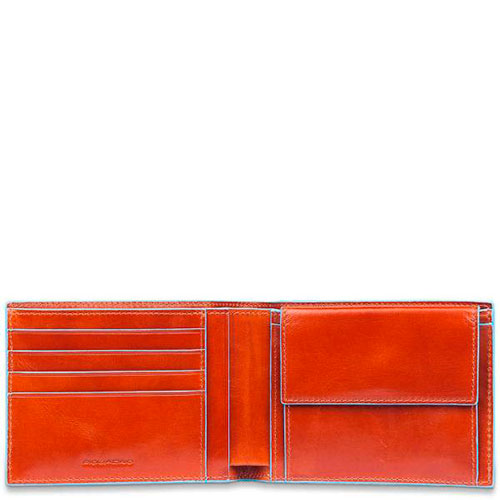 Портмоне Piquadro Bl Square с отделением для монет оранжевого цвета, фото
