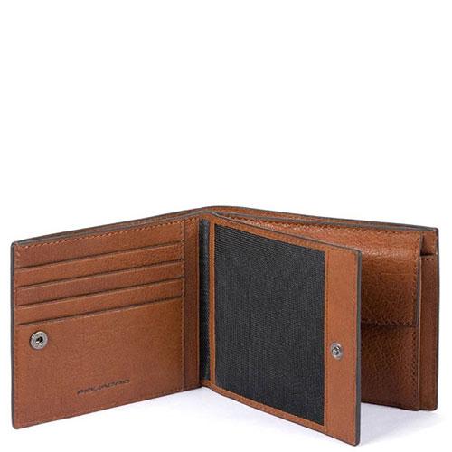 Мужской портмоне Piquadro Bk Square с отделением для монет и RFID защитой , фото