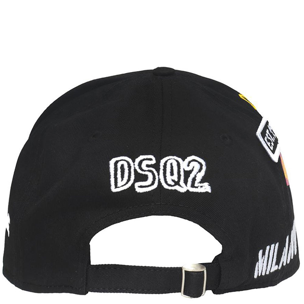 Черная кепка Dsquared2 с принтом и нашивками