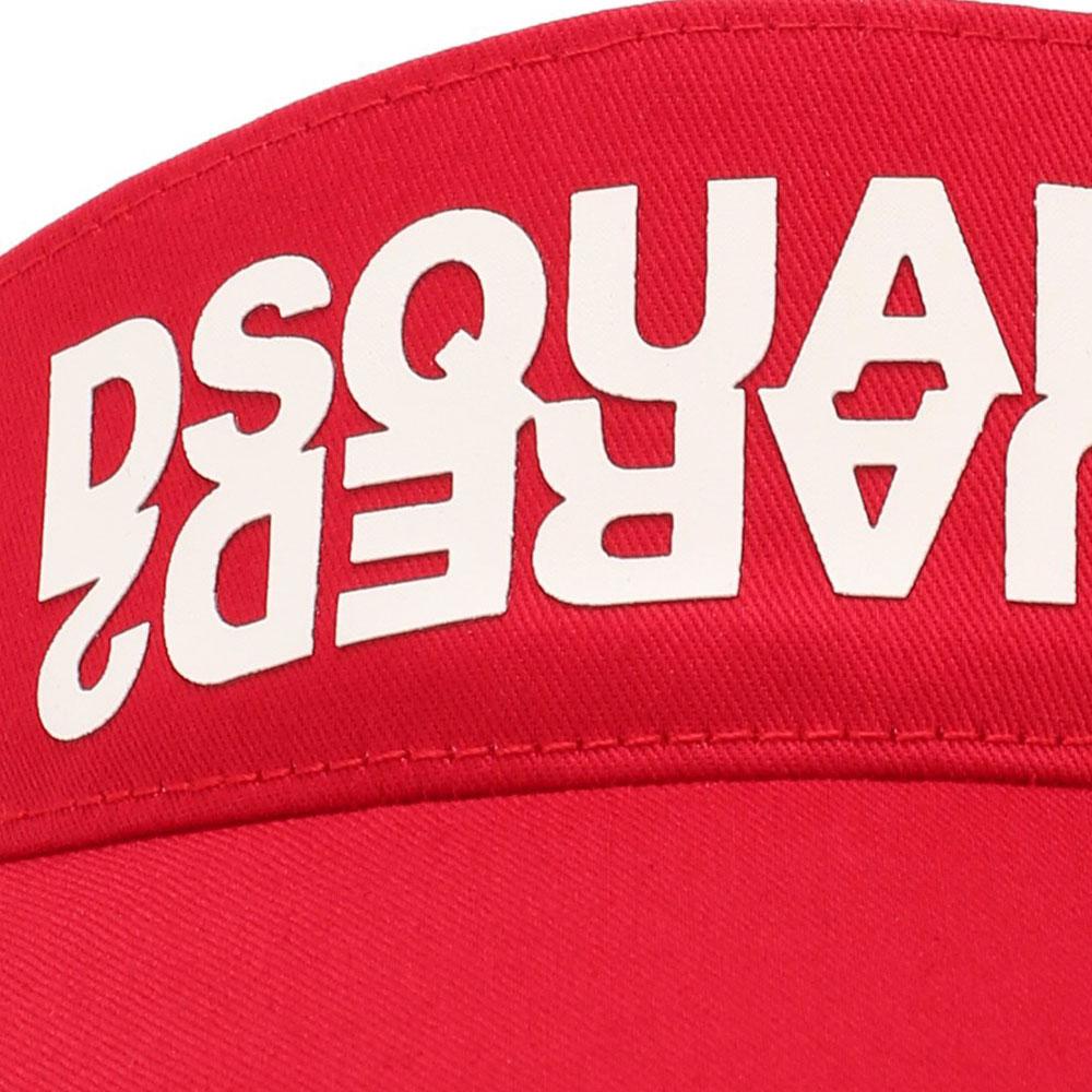Красный козырек Dsquared2 с зеркальным логотипом