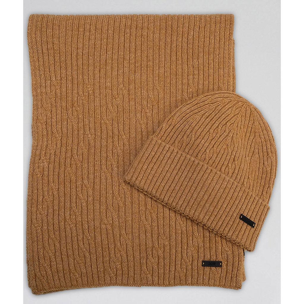 Шерстяной шарф Hugo Boss в светло-коричневом цвете