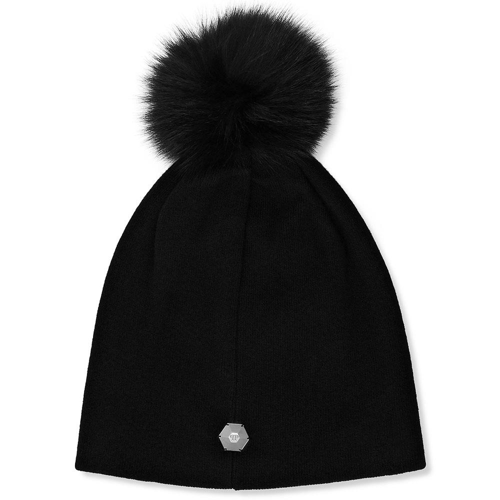 Черная шапка Philipp Plein с помпоном