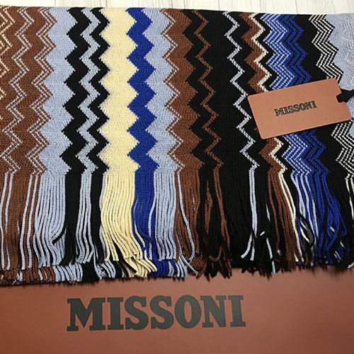 Шерстяной шарф Missoni с бахромой по краям, фото