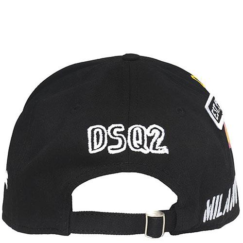 Черная кепка Dsquared2 с принтом и нашивками, фото