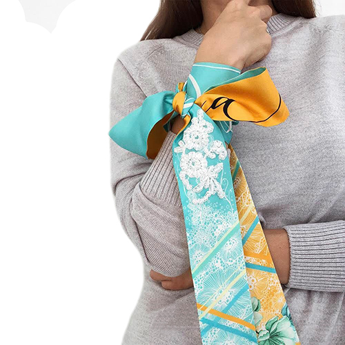 Узкий двухсторонний шарф D.OLYA by Olga Dvoryanskaya с цветочным принтом, фото