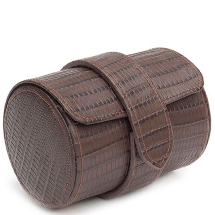 Футляр для галстука Wolf 1834 из тисненной под рептилию кожи коричневого цвета