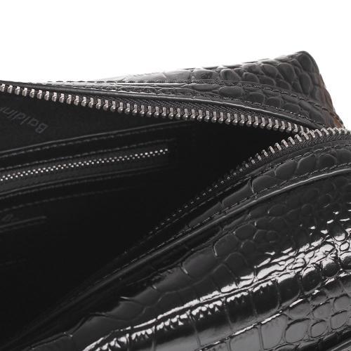 Черная косметичка Baldinini Martin Croco с тиснением под рептилию, фото