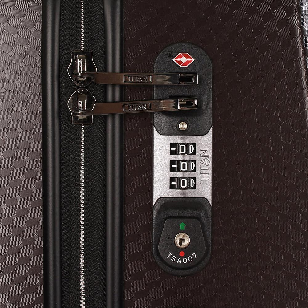 Темно-коричневый чемодан 67x46x28см Titan Xenon Deluxe с удобными мягкими ручками